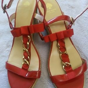 Kate Spade red wedges size 10